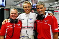 (L to R): Johnny Herbert, Sky Sports F1 Presenter with Max Chilton, Marussia F1 Team and Damon Hill, Sky Sports Presenter
