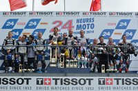 Podium: race winners Vincent Philippe, Anthony Delhalle, Erwan Nigon, second place David Checa, Kenny Foray, Mathieu Gines, third place Broc Parkes, Michael Laverty, Sheridan Morais