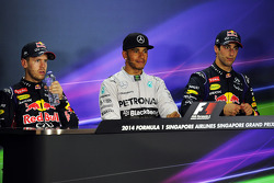 The post race FIA Press Conference, Red Bull Racing, second; Lewis Hamilton, Mercedes AMG F1, race winner; Daniel Ricciardo, Red Bull Racing, third
