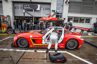 Pit stop for #18 Black Falcon Mercedes SLS AMG GT3: Anders Fjordbach, Vladimir Lunkin, Devon Modell
