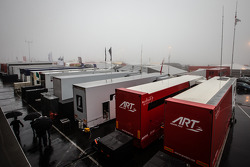 A foggy and wet paddock in the morning