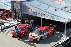 Flying Lizard Motorsports garage area