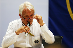 Charlie Whiting, FIA Delegate at an FIA Press Conference to discuss the accident involving Marussia F1 Team Driver Jules Bianchi, at the Japanese GP in Suzuka