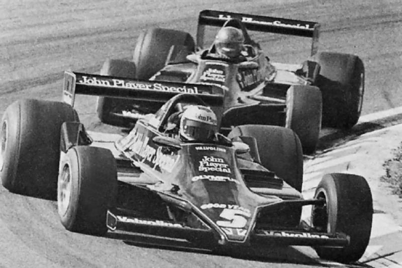 Mario Andretti leads Ronnie Peterson