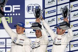 Podium: third place Marc Lieb, Neel Jani, Romain Dumas
