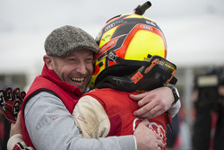 Vincent Vosse celebrates with race winner Laurens Vanthoor