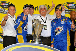 Championship victory lane: 2012 NASCAR Sprint Cup Series champion Brad Keselowski, Penske Racing Dodge celebrates with PR Denny Darnell