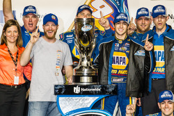 Championship victory lane: NASCAR Nationwide Series 2014 champion Chase Elliott celebrates with Dale Earnhardt Jr.