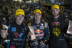 Race winner Jamie Whincup, second place Shane van Gisbergen, third place Chaz Mostert