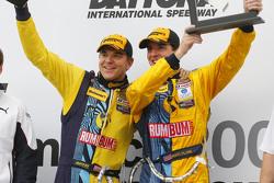 Victory Lane: race winners Matt Plumb and Hugh Plumb celebrate