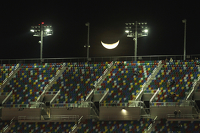 The moon over Daytona International Speedway