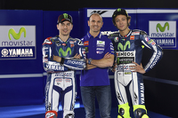 Massimo Meregalli with Jorge Lorenzo and Valentino Rossi