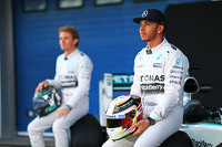 Lewis Hamilton, Mercedes AMG F1, an team mate Nico Rosberg, Mercedes AMG F1 with the new Mercedes AMG F1 W06