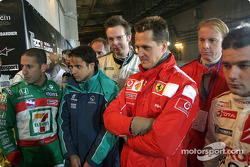 Tony Kanaan, Felipe Massa, Michael Schumacher and Sébastien Loeb