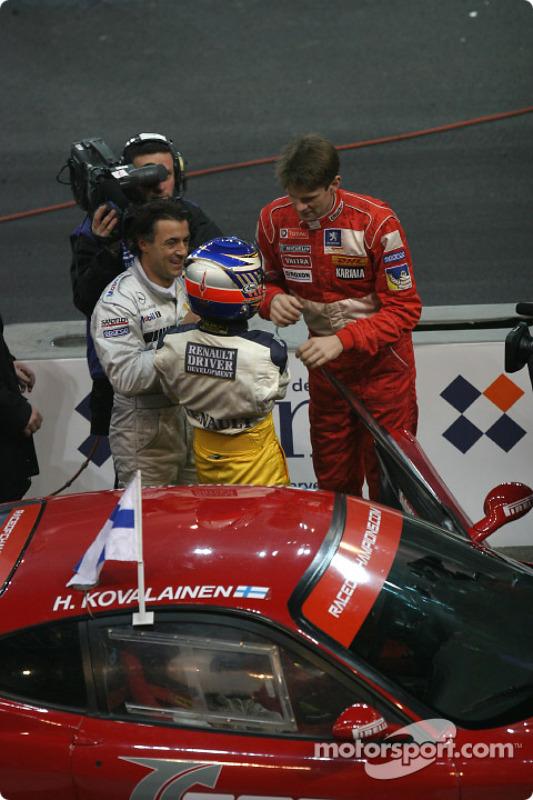 Jean Alesi, Heikki Kovalainen and Marcus Gronholm