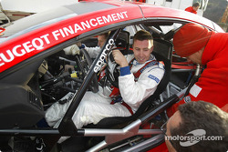 Markko Martin gets ready to test the new 2005 Peugeot 307 WRC