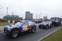Volkswagen Motorsport's departure for Barcelona
