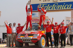 Podium: car winners Stéphane Peterhansel and Jean-Paul Cottret