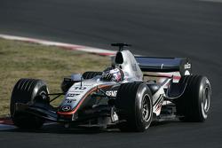 Juan Pablo Montoya tests the new McLaren Mercedes MP4-20
