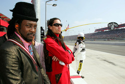 Will.I.Am and Taboo from the band The Black Eyed Peas watch the race