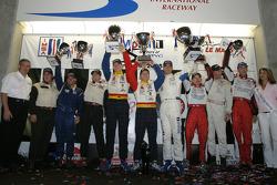 GT2 podium: class winners Lucas Luhr, Patrick Long, Jorg Bergmeister, with Justin Jackson, Tim Sugden, and Johannes Van Overbeek, Jon Fogarty, Darren Law