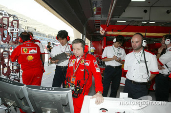 Practice preparations inside Ferrari garage area