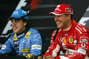 FIA Saturday press conference: provisional pole winner Fernando Alonso with Michael Schumacher