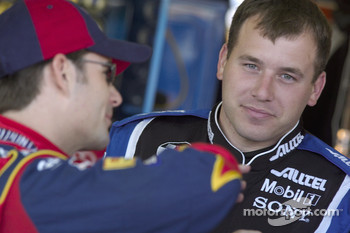 Jeff Gordon talks with Ryan Newman before practice