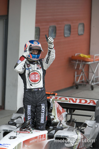 Jenson Button celebrates podium finish