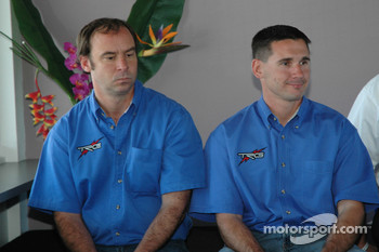 GM Racing-TRG press conference: Marc Bunting, Andy Lally, two of the drivers for the new TRG Pontiac GTO.R