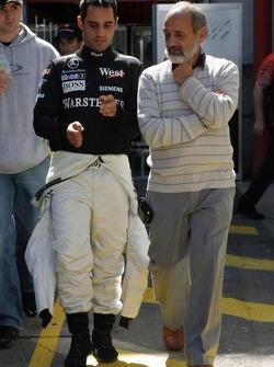 Juan Pablo Montoya with father Pablo