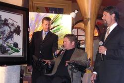 6th Annual Sam Schmidt Paralysis Foundation fundrasing gala: Dave Calabro, Sam Schmidt and Michael Andretti