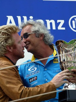 Podium: Boris Becker and Flavio Briatore