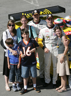 Ron Fellows and Max Papis with families