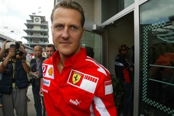 Michael Schumacher comes out of the Michelin meeting