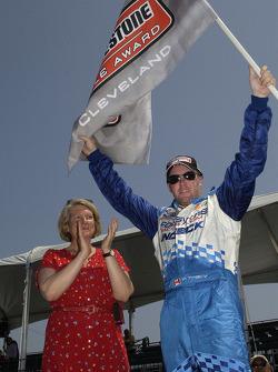 Pole winner Paul Tracy celebrates