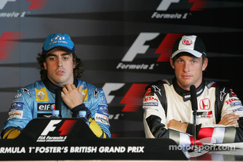 Press conference: pole winner Fernando Alonso with Jenson Button