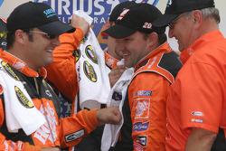 Victory lane: race winner Tony Stewart celebrates with Greg Zipadelli
