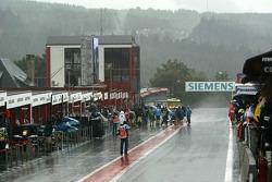 The pitlane under a heavy rain