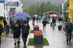 The paddock under a heavy rain
