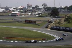 Alexander Wurz, Jacques Villeneuve and Giancarlo Fisichella