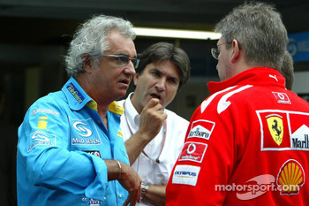 Flavio Briatore, Pasquale Lattuneddu and Ross Brawn
