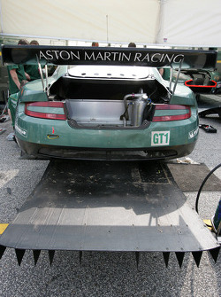 The wrecked #57 Aston Martin DB9
