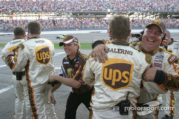 UPS Ford crew members celebrate victory