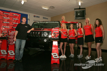 XLR8 press conference: Dale Earnhardt Jr. with the lovely XLR8 girls