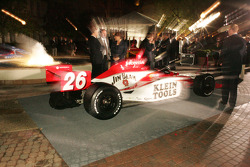 The car of Dan Wheldon on display