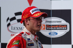 Podium: race winner and Champ Car World Series 2005 champion Sébastien Bourdais celebrates