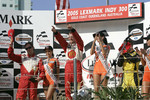 Podium: race winner and Champ Car World Series 2005 champion Sbastien Bourdais with A.J. Allmendinger and Jimmy Vasser