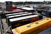 The trucks in the paddock