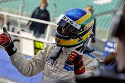 Bruno Senna celebrates his 2nd place